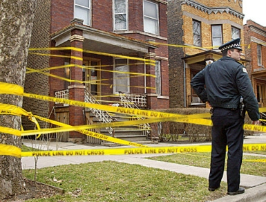 house taped off